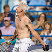 August 25, 2016, New Haven, Connecticut: <br /> John McEnroe in action during the Men's Legends Event on Day 7 of the 2016 Connecticut Open at the Yale University Tennis Center on Thursday, August  25, 2016 in New Haven, Connecticut. <br /> (Photo by Billie Weiss/Connecticut Open)