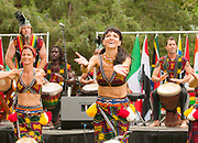 African dancers during outdoor festival in Hyde Park, Boise, Idaho. MR