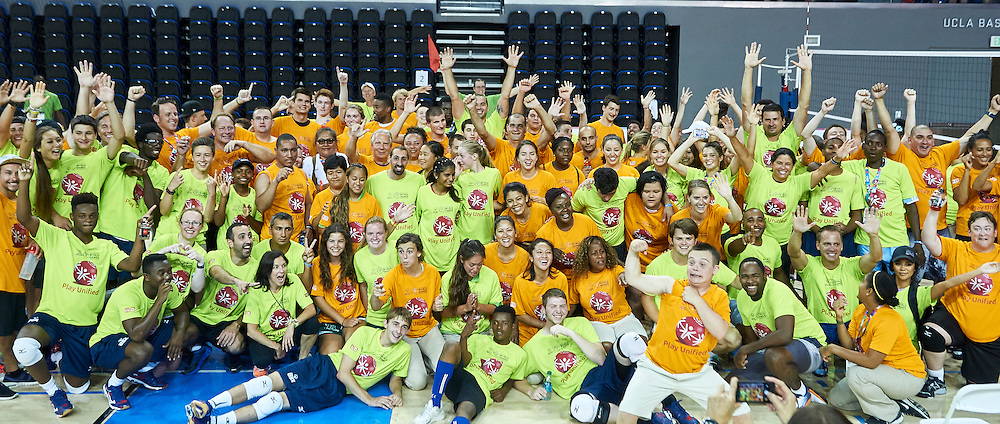 Family photo while Unified Volleyball Experience during sixth day of the Special Olympics World Games Los Angeles 2015 on July 30, 2015 at Pauley Pavilion at UCLA (University of California Los Angeles) in Los Angeles, USA.<br /> <br /> USA, Los Angeles, July 30, 2015<br /> <br /> Picture also available in RAW (NEF) or TIFF format on special request.<br /> <br /> For editorial use only. Any commercial or promotional use requires permission.<br /> <br /> Adam Nurkiewicz declares that he has no rights to the image of people at the photographs of his authorship.<br /> <br /> Mandatory credit:<br /> Photo by &copy; Adam Nurkiewicz / Mediasport