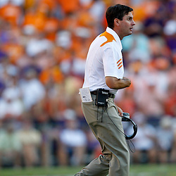 Oct 2, 2010; Baton Rouge, LA, USA; Tennessee Volunteers head coach Derek Dooley on the field during the second half against the LSU Tigers at Tiger Stadium. LSU defeated Tennessee 16-14.  Mandatory Credit: Derick E. Hingle