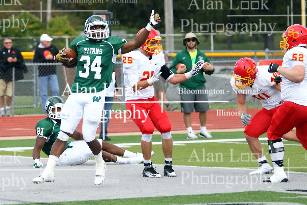 19 September 2015:  Maurice Shoemaker-Gilmore scores during an NCAA division 3 football game between the Simpson College Storm and the Illinois Wesleyan Titans in Tucci Stadium on Wilder Field, Bloomington IL