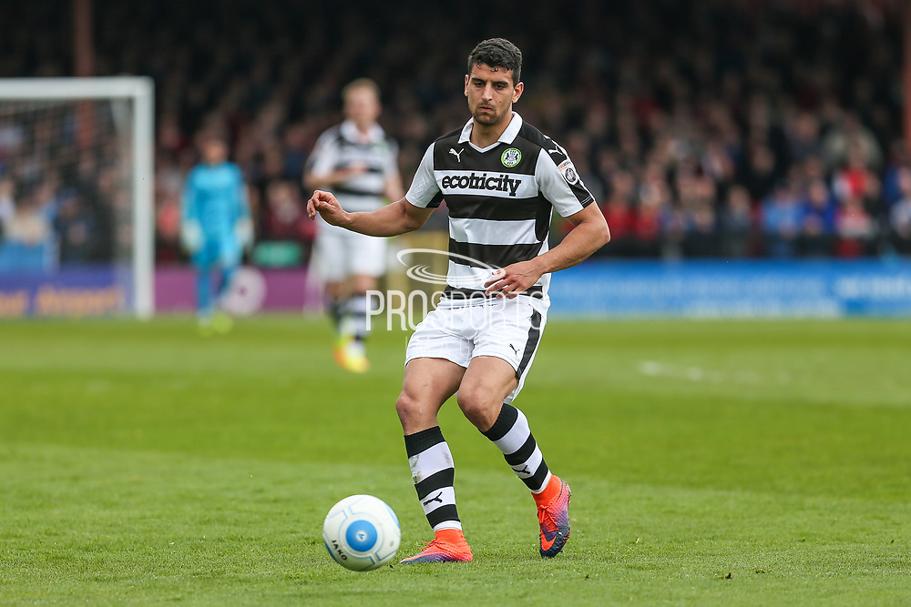 Forest Green Rovers Omar Bugiel(11) passes the ball forward during the Vanarama National League match between York City and Forest Green Rovers at Bootham Crescent, York, England on 29 April 2017. Photo by Shane Healey.
