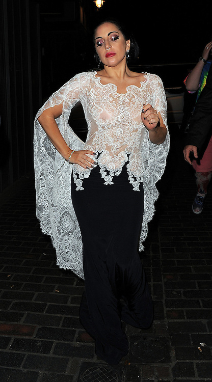 Singer Lady Gaga enjoys at night out at The Box club after her gig at The O2 in London, UK. 24/10/2014<br />BYLINE MUST READ : GOTCHAIMAGES.COM<br /><br />Copyright by &copy; Gotcha Images Ltd. All rights reserved.<br />Usage of this image is conditional upon the acceptance <br />of Gotcha Images Ltd, terms and conditions available at<br />www.gotchaimages.com