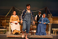 Gabby Leclerc as Miss Watson, Riley Alward as Huck Finn, Angel Douglas as Jim and Doreen Sheppard as Widow Douglas during dress rehearsal for Big River - The Adventures of Huckleberry Finn with the Streetcar Company at Interlakes High School auditorium on Tuesday evening.  (Karen Bobotas/for the Laconia Daily Sun)