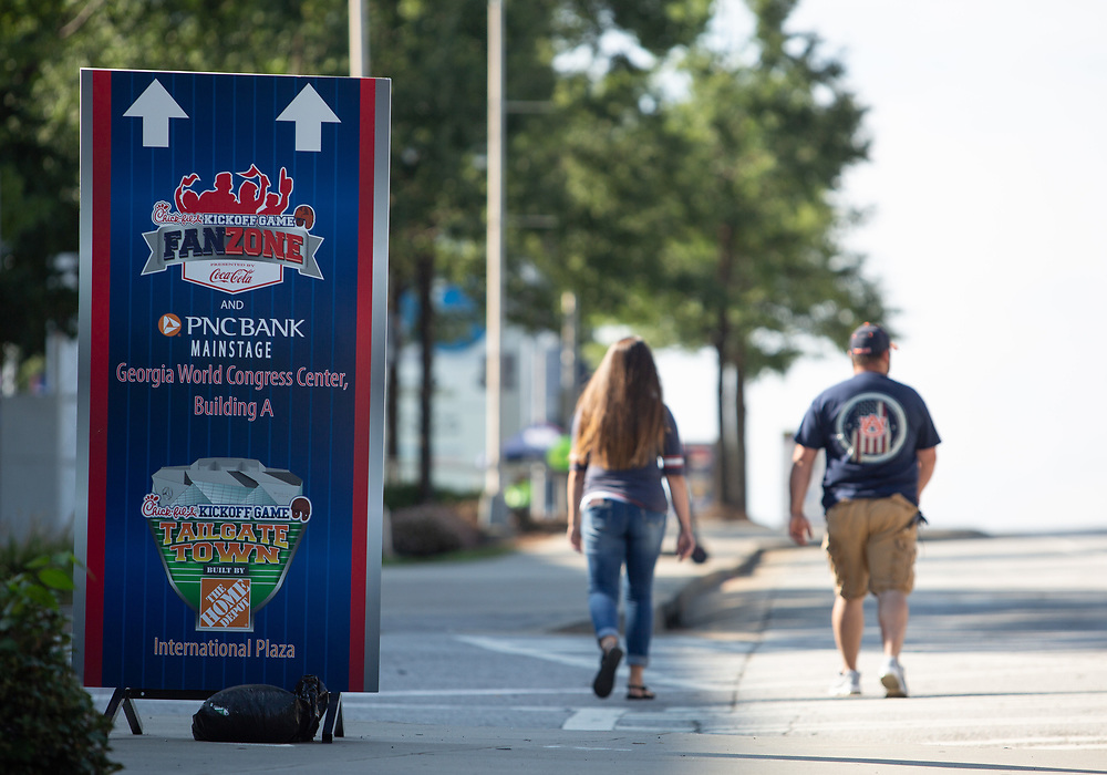 Signage prior to the Chick-fil-A Kickoff Game at  the Mercedes-Benz Stadium, Saturday, September 1, 2018, in Atlanta. (AJ Reynolds via Abell Images for Chick-fil-A Kickoff)