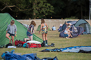 Attempting to get the tents up - The 2017 Latitude Festival, Henham Park. Suffolk 13 July 2017