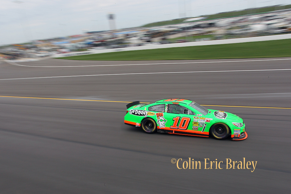 Danica Patrick heads through turn one during a NASCAR Sprint Cup race at Kansas Speedway, Sunday, April 21, 2013 in Kansas City, Kansas. (AP Photo/Colin E. Braley)