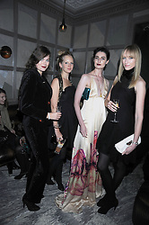Left to right, JASMINE GUINNESS, SAVANNAH MILLER, ERIN O'CONNOR and JADE PARFIT at a party for Yves Saint Laurent's Creative Director Stefano Pilati given by Colin McDowell held at The Connaught Bar, The Connaught, Mount Street, London on 29th October 2008.