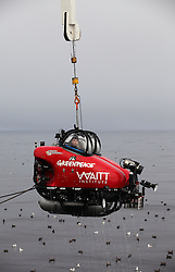 USA ALASKA BERING SEA 11JUL12 - A two-seater submersible craft, on loan from the Waitt Institute is recovered on board the Greenpeace ship Esperanza for its first dive exploring the deep sea canyons of the Bering Sea, Alaska.....The Greenpeace ship Esperanza is on an Arctic expedition to study unexplored ocean habitats threatened by offshore oil drilling, as well as industrial fishing fleets.....Photo by Jiri Rezac / Greenpeace....© Jiri Rezac / Greenpeace