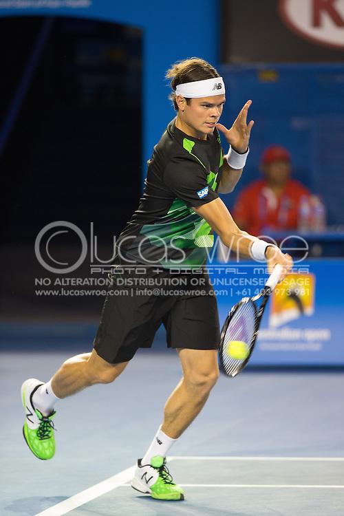 Milos Raonic (CAN). Day 9. Quater Finals. Melbourne Olympic Park, Melbourne, Victoria, Australia. 22/01/2013. Photo By Lucas Wroe