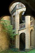 Burg Hohenzollern, Wendeltreppe, Schwäbische Alb, Baden-Württemberg, Deutschland.. | ..Hohenzollern Castle, spiral stair, Germany
