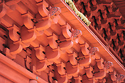 A close-up of Iwaki shrine on the side of Mt. Iwaki which is a volcano and a very sacred mountain.