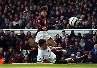 Photo: Olly Greenwood.<br />Arsenal v Charlton Athletic. The Barclays Premiership. 18/03/2006. <br />Arsenal's Francesc Fabregas goes close with a shot at goal past Charltons Hermann Hreidarsson.