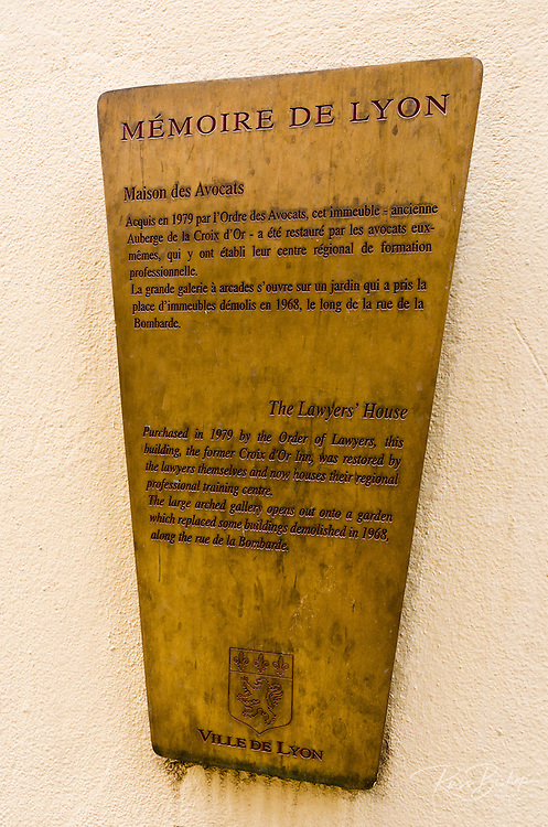 Plaque at the Lawyers House in old town Vieux Lyon, France (UNESCO World Heritage Site)