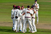 Wicket - Roelof van der Merwe of Somerset celebrates taking the wicket of Paul Stirling of Middlesex during the Specsavers County Champ Div 1 match between Somerset County Cricket Club and Middlesex County Cricket Club at the Cooper Associates County Ground, Taunton, United Kingdom on 28 September 2017. Photo by Graham Hunt.