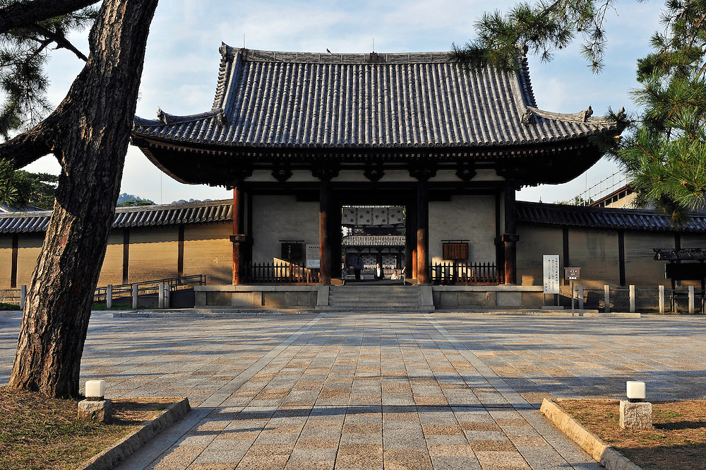 Nandaimon, the South Main Gate...H?ry?-ji is one of Japan's oldest Buddhist temples..Its main hall, five storied pagoda and central gate, dating from the 7th century, are the world's oldest surviving wooden structures.