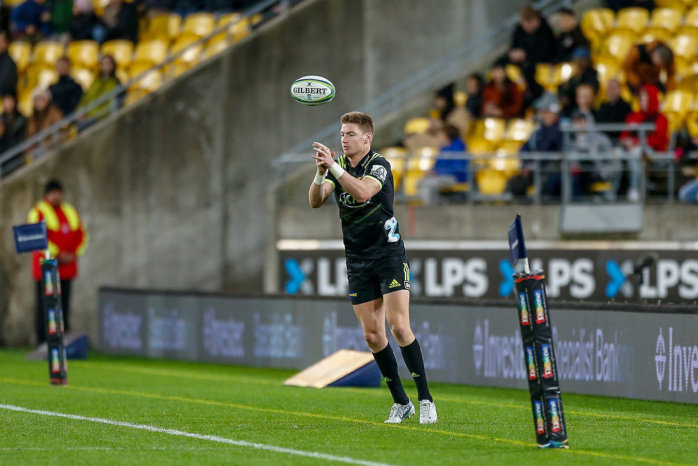 Jordie Barrett misses the ball during the Super rugby union game (Round 14) played between Hurricanes v Reds, on 18 May 2018, at Westpac Stadium, Wellington, New  Zealand.    Hurricanes won 38-34.