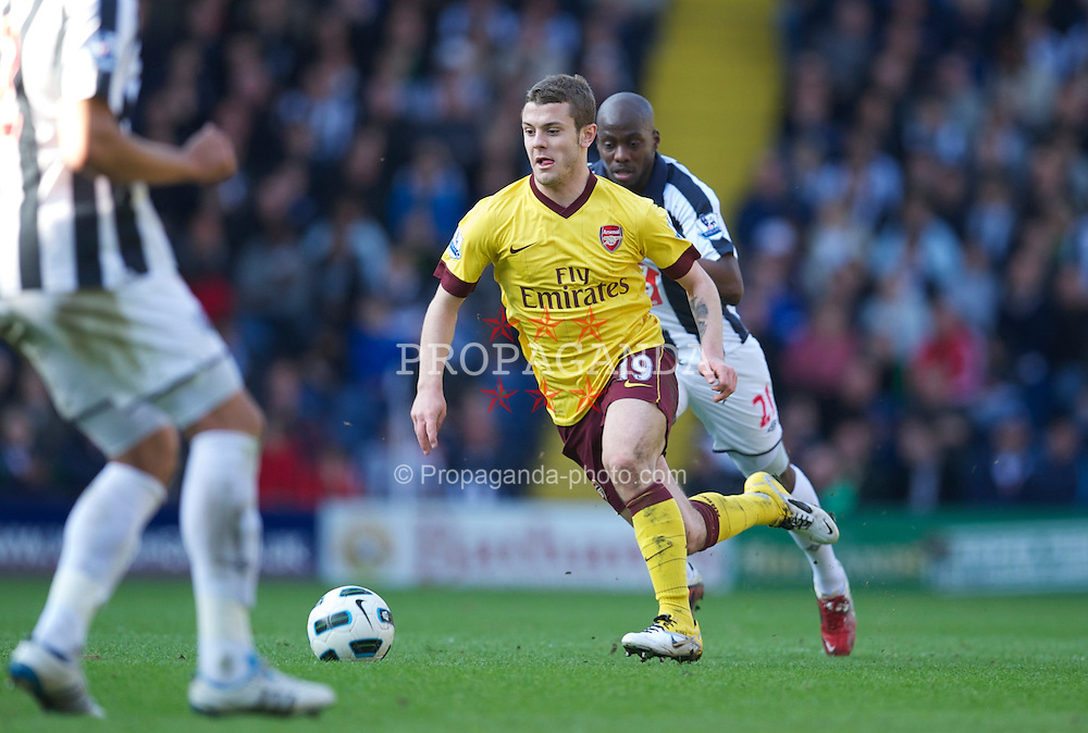 WEST BROMWICH, ENGLAND - Saturday, March 19, 2011: Arsenal's Jack Wilshere in action against West Bromwich Albion during the Premiership match at the Hawthorns. (Photo by David Rawcliffe/Propaganda)