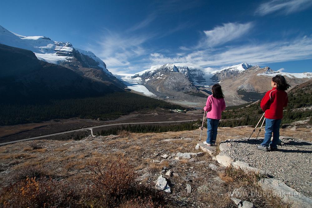 Children overlooking Athabasca Glacier from WIlcox Pass, Jasper National Park
