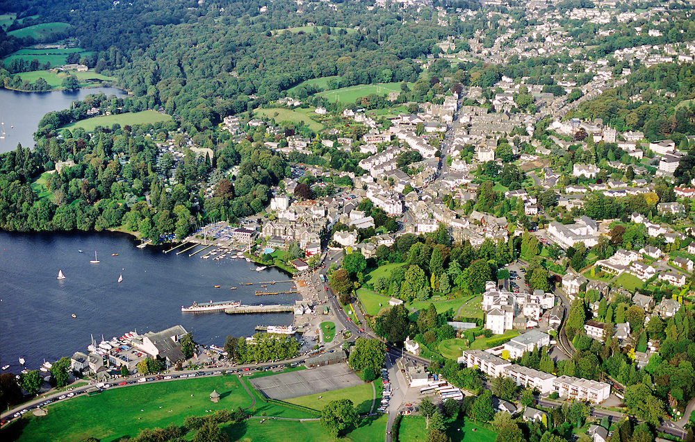 Town of Bowness on east side of Lake Windermere in the Lake District National Park, Cumbria, England. Aerial.