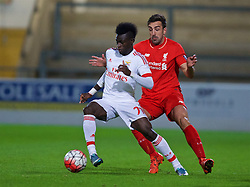 CHESTER, ENGLAND - Friday, October 23, 2015: Liverpool's Jose Enrique in action against Benfica's Sancidino Silva during the Premier League International Cup match at the Deva Stadium. (Pic by David Rawcliffe/Propaganda)