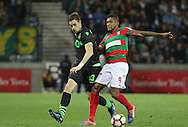 Sporting's player Coates (L ) fights for the ball with Maritimo´s player Dyego Sousa   (R ) during Portuguese First League football match Maritimo vs Sporting held at Barreiros Stadium, Funchal, Portugal, 21 January, 2017.  EPA / GREGÓRIO CUNHA