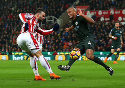 Jese of Stoke City takes on Vincent Kompany of Manchester City - Mandatory by-line: Robbie Stephenson/JMP - 12/03/2018 - FOOTBALL - Bet365 Stadium - Stoke-on-Trent, England - Stoke City v Manchester City - Premier League