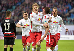 06.12.2015, Red Bull Arena, Leipzig, GER, 2. FBL, RB Leipzig vs MSV Duisburg, 17. Runde, im Bild Torjubel nach dem 2:2 - Kevin Wolze (MSV #17), Marcel Sabitzer (RB #7), Emil Forsberg (RB #10), Torschütze Nils Quaschner (RB #17), Yussuf Poulsen (RB #9) (l-r) // during the 2nd German Bundesliga 17th round match between RB Leipzig and MSV Duisburg at the Red Bull Arena in Leipzig, Germany on 2015/12/06. EXPA Pictures © 2015, PhotoCredit: EXPA/ Eibner-Pressefoto/ Modla<br /> <br /> *****ATTENTION - OUT of GER*****