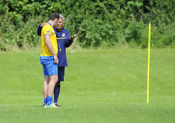 Bristol Rovers Manager, John Ward talks with Bristol Rovers' Tom Parkes - Photo mandatory by-line: Joe Meredith/JMP - Tel: Mobile: 07966 386802 24/06/2013 - SPORT - FOOTBALL - Bristol -  Bristol Rovers - Pre Season Training - Npower League Two