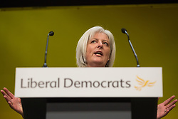 Bournemouth, UK. 15 September, 2019. Caroline Voaden, Liberal Democrat MEP for South West England, speaks on the Stop Brexit motion during the Liberal Democrat Autumn Conference. Following a vote won by an overwhelming majority, the Liberal Democrats pledged to cancel Brexit if they win power at the next general election. This marks a shift in policy from their previous backing for a People's Vote. Credit: Mark Kerrison/Alamy Live News