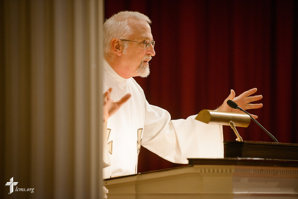 The Rev. Rick Milas of University Lutheran Church in Champaign, Ill., preaches during Matins at the Liberty National LCMS Campus Ministry Conference on Thursday, Jan. 5, 2017, at the University of Maryland in College Park, Md. LCMS Communications/Erik M. Lunsford