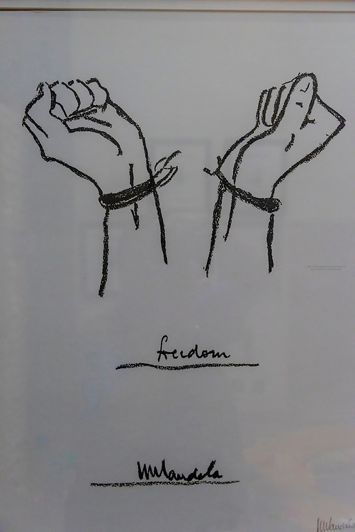 A drawing by Nelson Mandela of shackled hands broken free, Saxon Hotel, Johannesburg, South Africa.