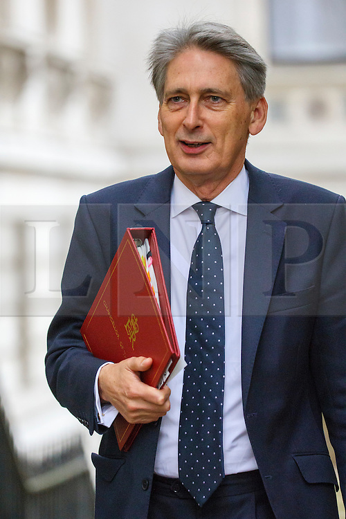 © Licensed to London News Pictures. 18/10/2016. London, UK. Chancellor of Exchequer PHILIP HAMMOND attends a cabinet meeting in Downing Street on Tuesday, 18 October 2016. Photo credit: Tolga Akmen/LNP