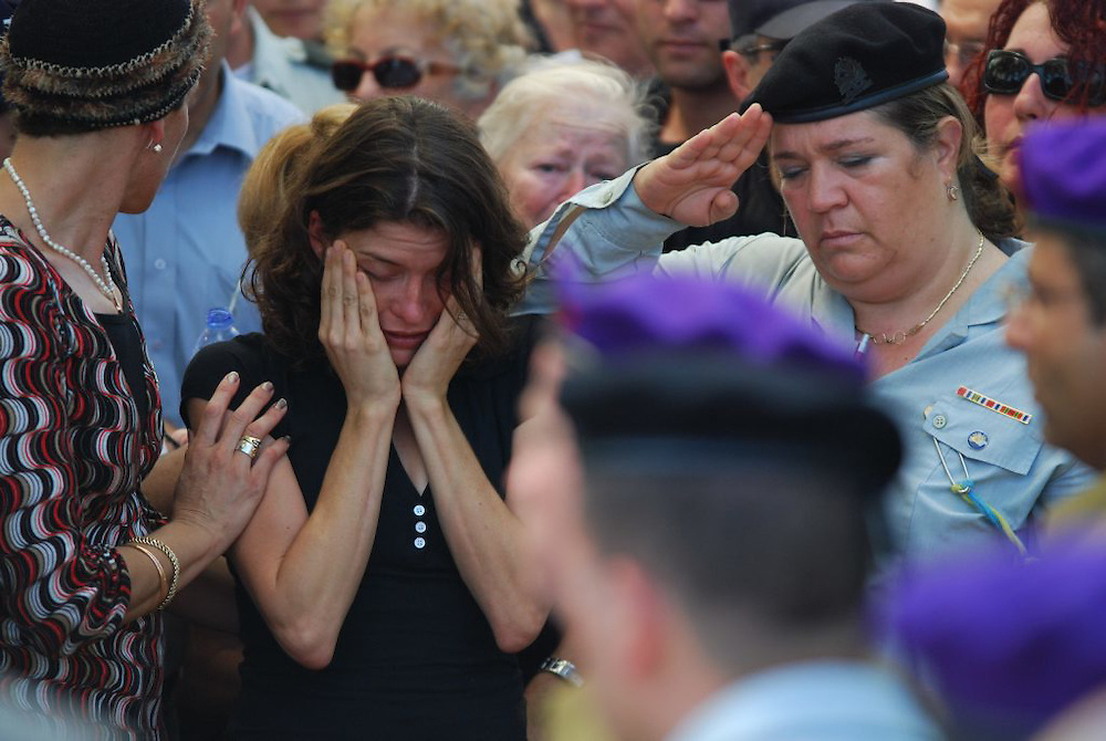 NAHARIYA, ISRAEL - JULY 17: .Karnit Goldwasser the wife israeli captive soldier Ehud Goldwasser during his funeral at the military cemetery in Nahariya on July 17,2008. Photo by Gili Yaari