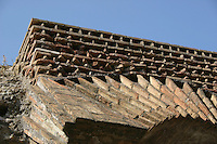 Part of the ancient roman monument the Colosseum, Rome, Italy.<br />