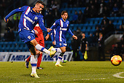 Cody McDonald shoots during the Sky Bet League 1 match between Gillingham and Leyton Orient at the MEMS Priestfield Stadium, Gillingham, England on 15 November 2014.