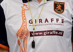 12-01-2013 VOLLEYBAL: SSS - AMBIANT LYCURGUS: BARNEVELD<br /> Lycurgus wint met 3-1 van SSS / Scheidsrechter fluit item Giraffe<br /> &copy;2013-FotoHoogendoorn.nl