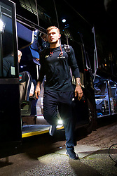 PLYMOUTH, ENGLAND - Wednesday, January 18, 2017: Liverpool's goalkeeper Loris Karius steps off the team coach as the squad arrive at Home Park ahead of the FA Cup 3rd Round Replay match against Plymouth Argyle. (Pic by David Rawcliffe/Propaganda)