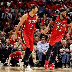 Oct 19, 2018; New Orleans, LA, USA; New Orleans Pelicans forward Nikola Mirotic (3) and forward Anthony Davis (23) during the second quarter against the Sacramento Kings at the Smoothie King Center. Mandatory Credit: Derick E. Hingle-USA TODAY Sports