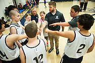 Mount Mansfield huddles together during the unified basketball game between Colchester and Mount Mansfield at MMU High School on Monday afternoon April 25, 2016 in Jericho. (BRIAN JENKINS/for the FREE PRESS)