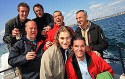 A group of Slovenian hockey friends  taking picture with Robert Kristan at whale watching boat, when some guys of Slovenian Team were celebrating an anniversary of playing for the team, during IIHF WC 2008 in Halifax,  on May 07, 2008, sea at Halifax, Nova Scotia, Canada. (Photo by Vid Ponikvar / Sportal Images)