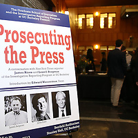 "The poster for the ""Prosecuting the Press"" event at the UC Berkeley Graduate School of Journalism in Berkeley, California, on Thursday, November 14, 2013.  Guest speaker James Risen, the New York Times national security reporter is facing jail for refusing to comply with a subpoena to reveal his sources in relation to his book titled State of War: The Secret History of the CIA and the Bush Administration. (AP Photo/Alex Menendez)"