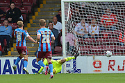 Paddy Madden scores opener for scunthorpe during the Sky Bet League 1 match between Scunthorpe United and Crewe Alexandra at Glanford Park, Scunthorpe, England on 15 August 2015. Photo by Ian Lyall.
