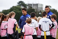 Marco Mama and Ben Glynn of Bristol Rugby look after a team as Local Junior Schools compete in a Tag Rugby Competion - Mandatory byline: Rogan Thomson/JMP - 07966 386802 - 14/07/2015 - SPORT - RUGBY UNION - Bristol, England - Durdham Downs -  Webb Ellis Cup visits Bristol as part of the 2015 Rugby World Cup Trophy Tour
