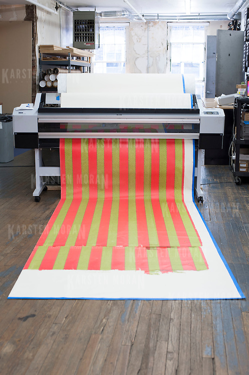 August 9, 2012 - New York, NY :  A work by artist Wade Guyton is printed, on Thursday afternoon. A retrospective of Wade Guyton's work is scheduled to go on exhibit at the Whitney Museum in October. CREDIT : Karsten Moran for The New York Times
