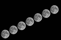 Seven Moons. Composite of images taken with a Nikon D5 camera and 600 mm f/4 VR telephoto lens (ISO 100, 600 mm, f/11, 1/250 sec).