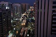 United Arab Emirates: Abu Dhabi Province.Evening traffic in downtown Abu Dhabi