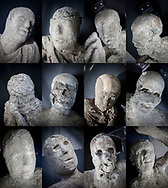 19 May 2017, Pompei, Naples Italy - The face of bodies of inhabitants of ancient city of Pompeii dead durind the eruption of Vulcano Vesevus in 79 d.p. The inhabitants of the ancient Pompeii died for asphyxiation cause of the burning clouds (nubi ardenti).