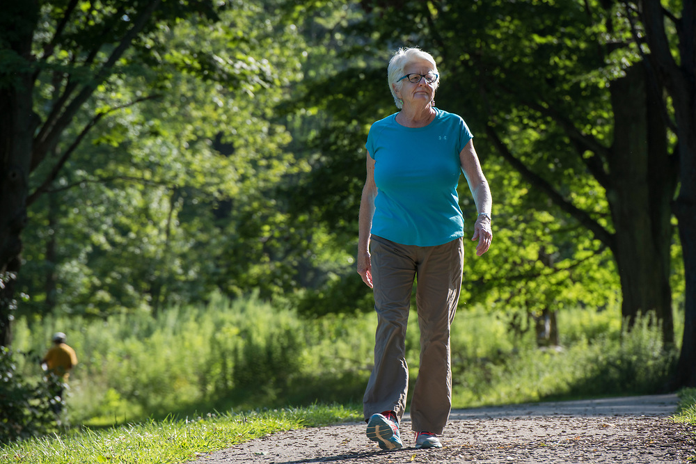 Allegheny County Parks Foundation Executive Director Caren Glotfelty walking at South Park.