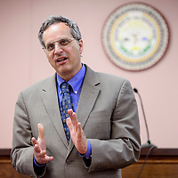 Ramah Judicial District staff attorney Dan Moquin conducts a community meeting at the Ramah Navajo courthouse in Mountain View Thursday.